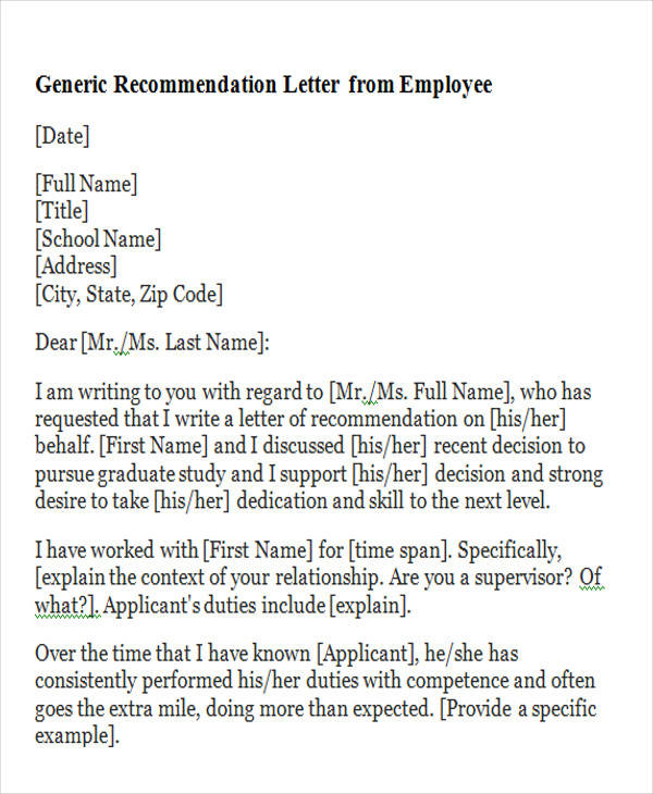 writing a generic letter of recommendation