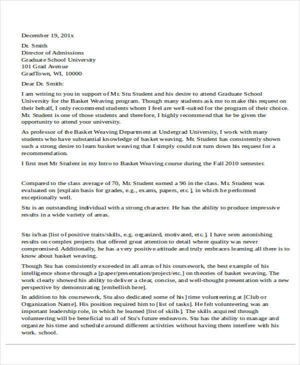graduate school letter of recommendation from employer