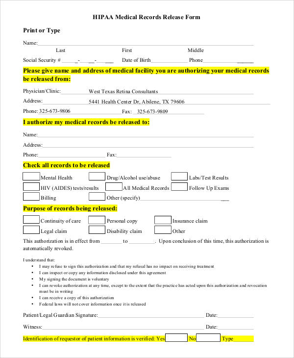 53+ Generic Release Forms Sample Templates - medical record release form template