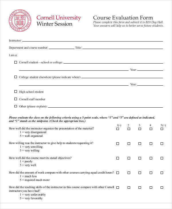 Evaluation Form Example - instructor evaluation form
