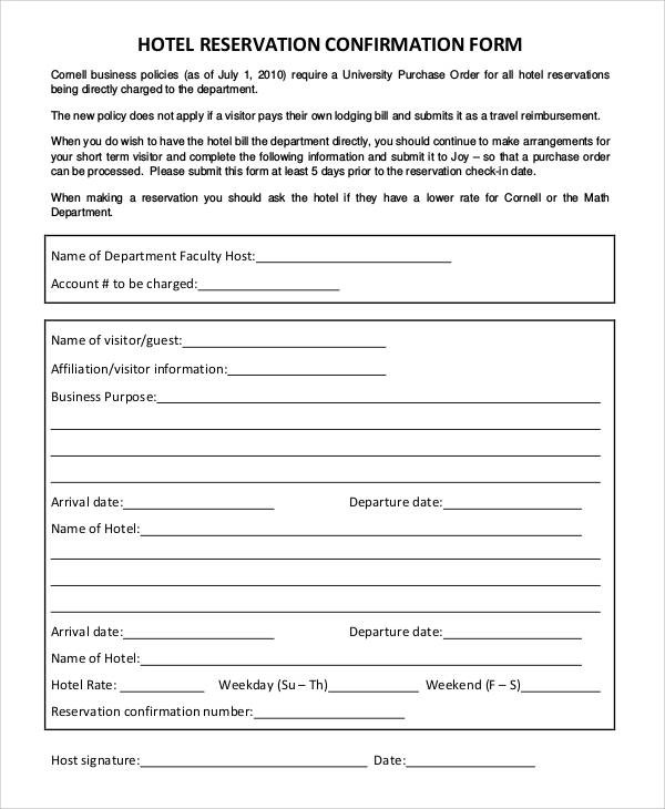 Hotel Registration Form Pdf Listmachinepro ~ Reservation Forms In Pdf