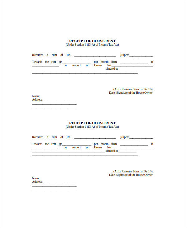 17 Sample Receipt Forms in Doc - house rent receipt format