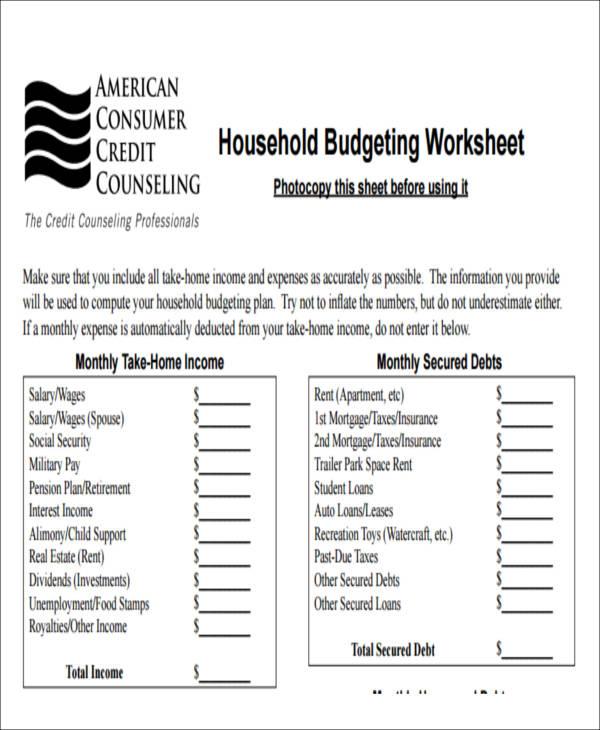 Budgeting Form getcontagio - free budget form