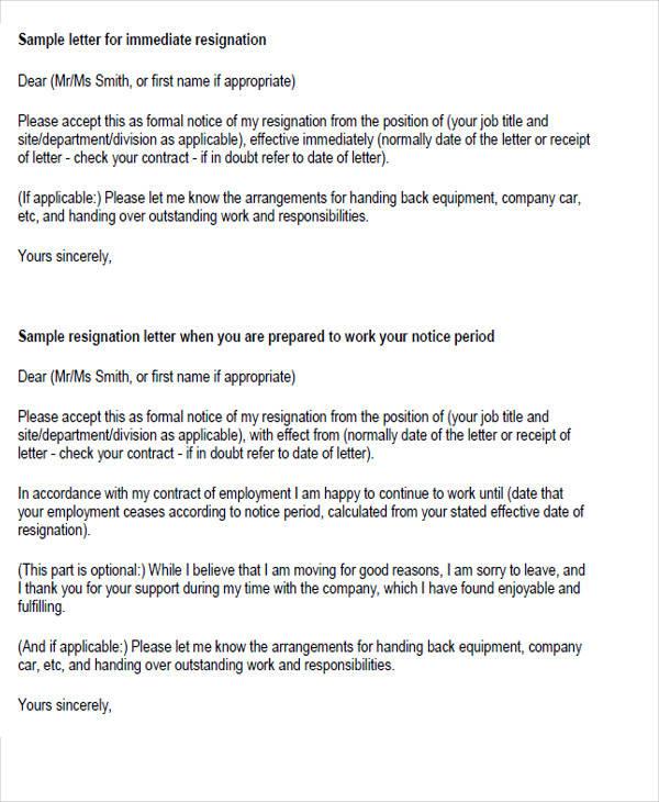 34 Sample Resignation Letter Templates Sample Templates