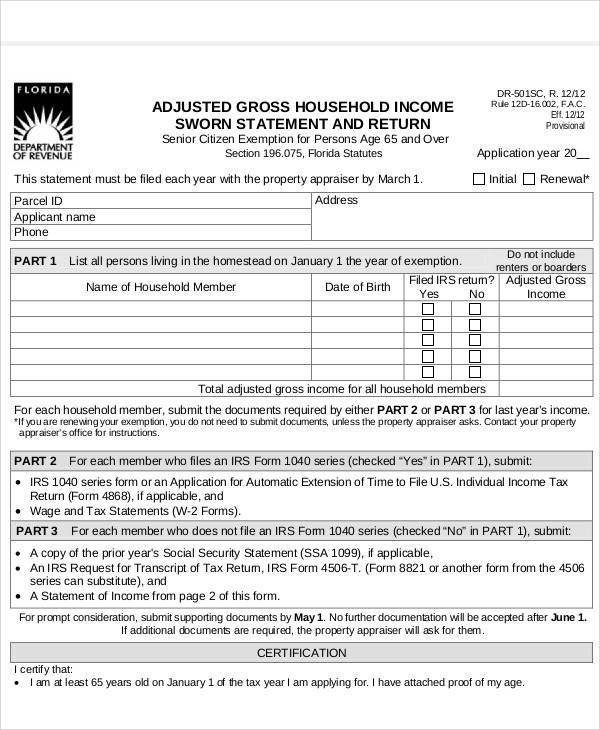 Statement Form In PDF   Sworn Statement Example