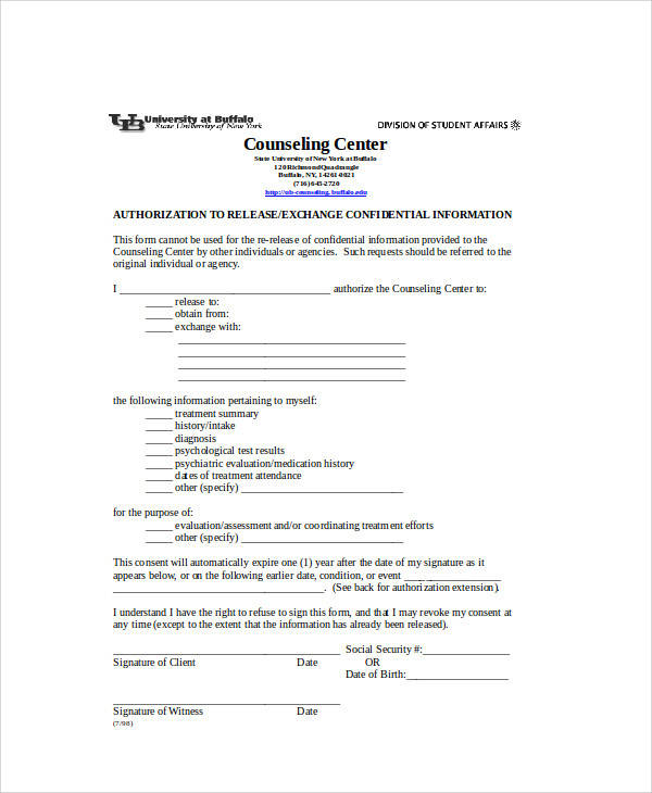 release of information form template
