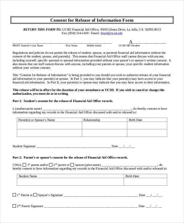 Generic Release Forms - financial release form
