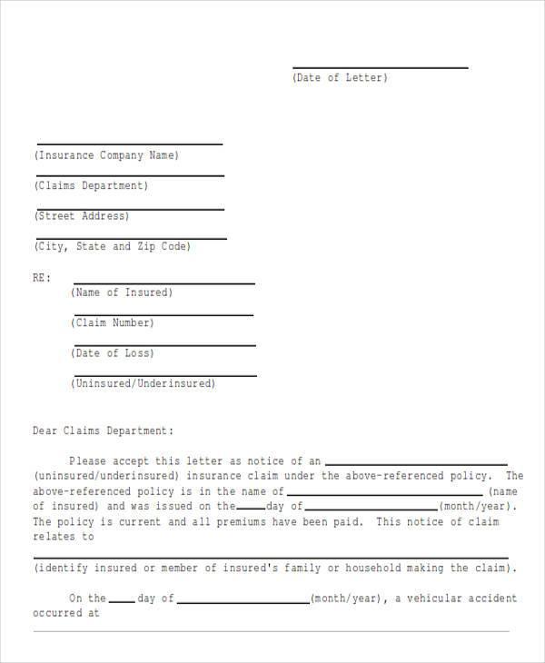 insurance claim letter samples