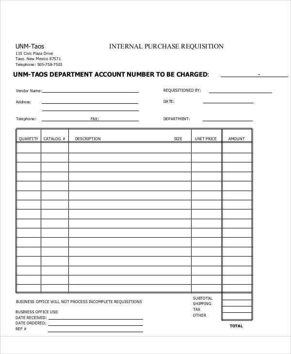 Requisition Form Office Depot Brand Purchase Requisition Forms 5 - requisition form example
