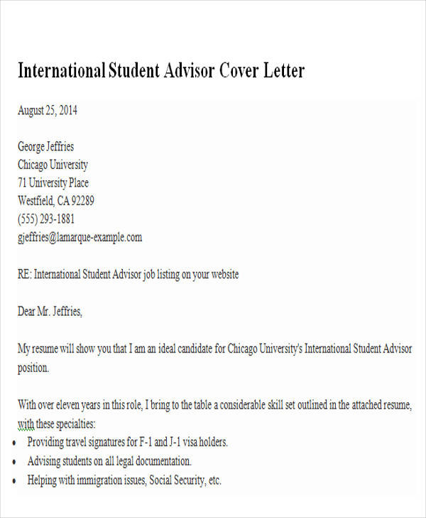 6+ Sample Academic Advisor Cover Letters Sample Templates