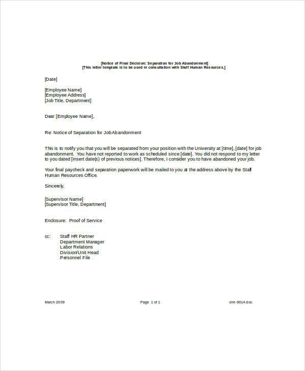 8+ Sample Job Abandonment Letters Sample Templates