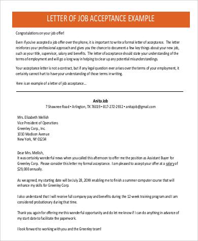 33 Acceptance Letters In PDF   Sample Job Acceptance Letter