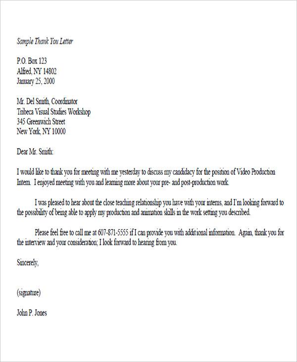 thank you letter job offer