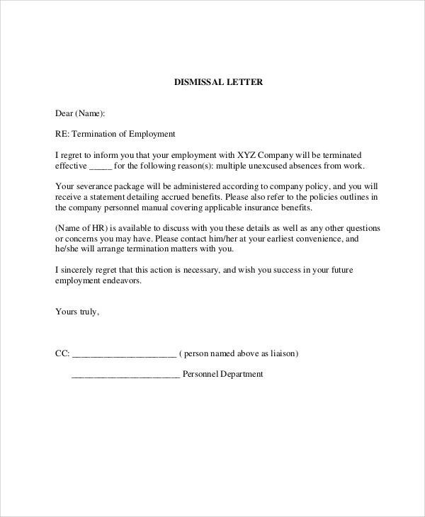37+ Sample Termination Letters - employee termination guide