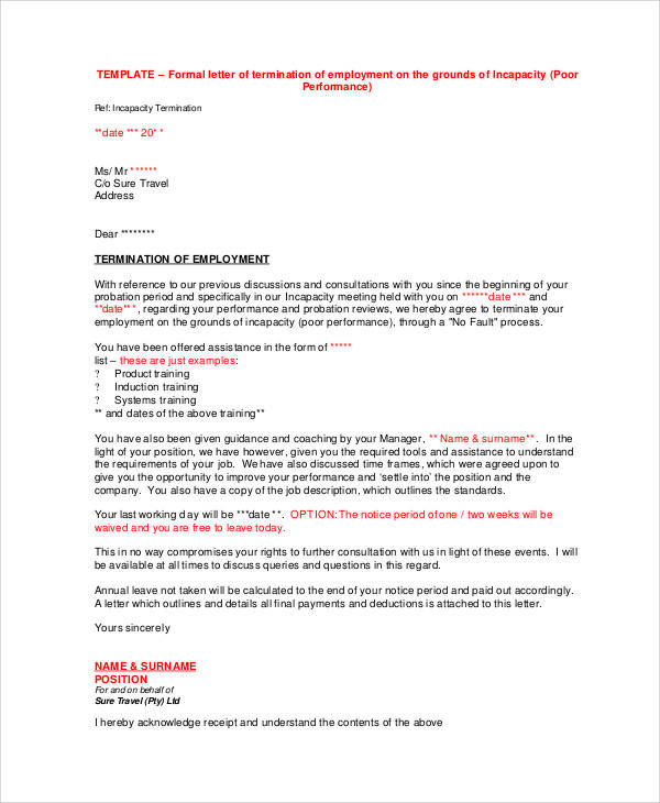 36+ Examples of Termination Letters