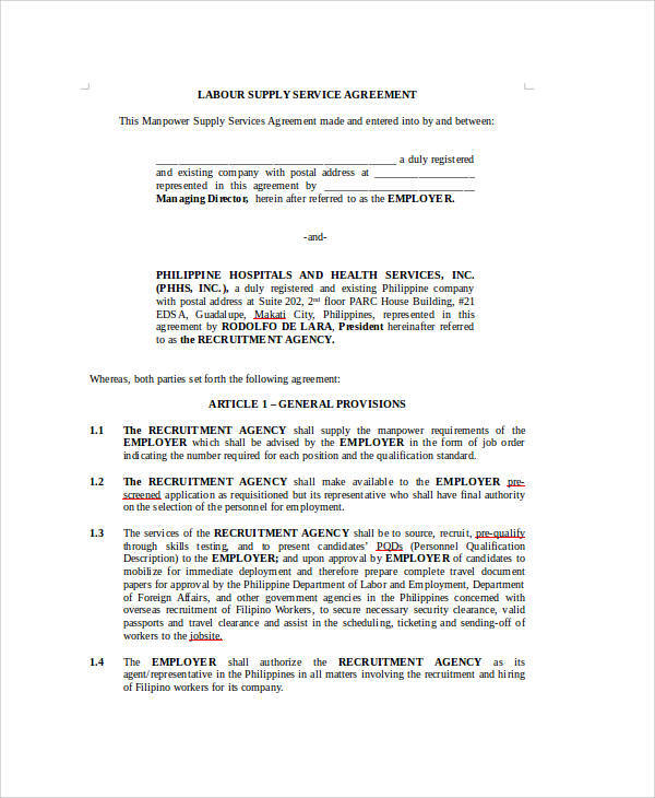7+ Sample Agreements for Labour Contract Sample Templates - agreement for labour contract