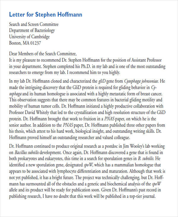 law school letter of recommendation example