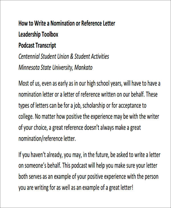 sample recommendation letter for leadership award