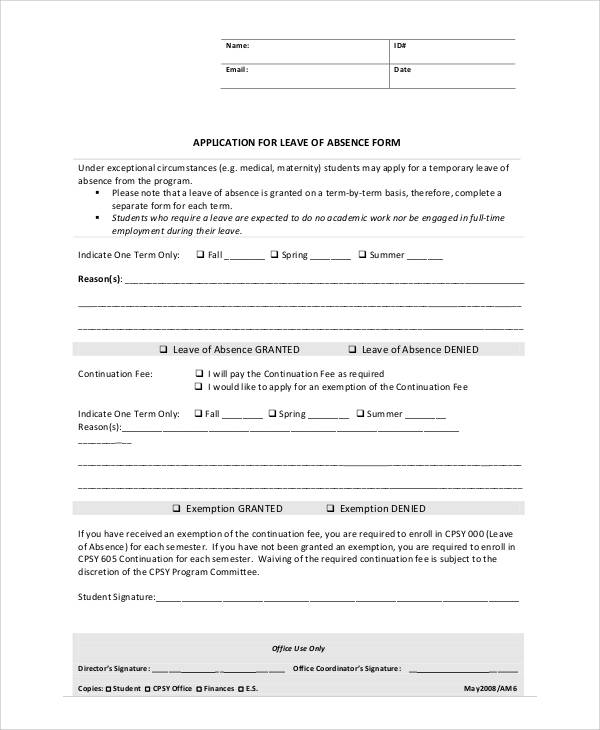 Leave Of Absence Form 7 Application Leave Of Absence Packaging ...