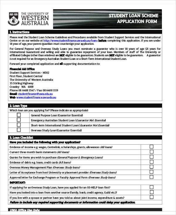 65+ Application Form Samples Sample Templates - students loan application form