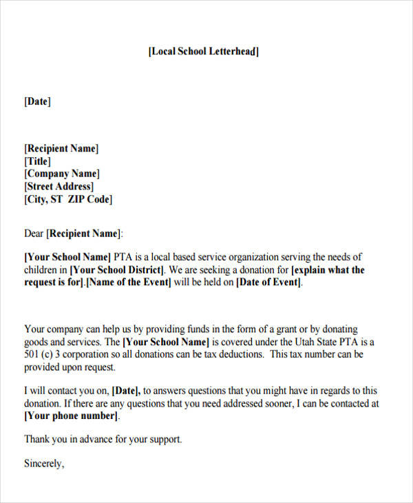 school donation letter - Helomdigitalsite