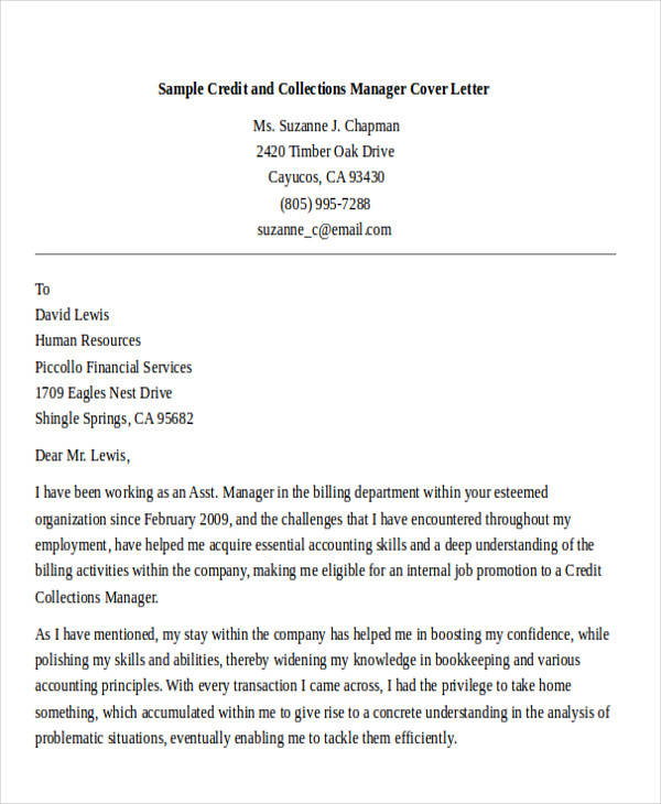 Collections Manager Cover Letter