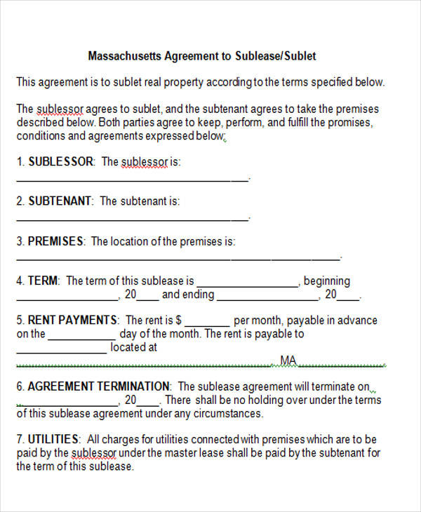 massachusetts agreement to sublease sublet - 100 images - free - sublease agreement