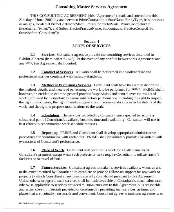 40+ Consulting Agreement Sample - consulting services agreement