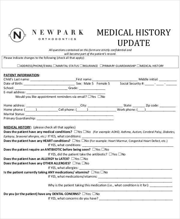 Sample Medical Form - medical history forms