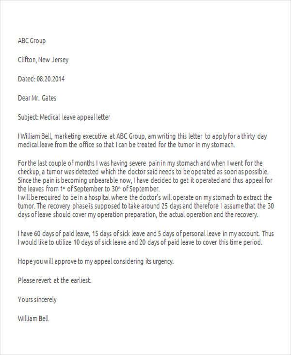 42+ Leave Letter Samples \u2013 PDF, Word, Apple Pages Sample Templates