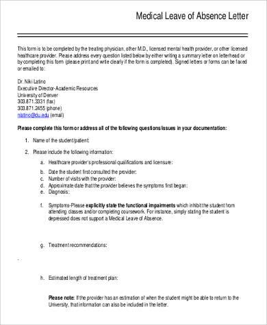 Letter leave of absence medical