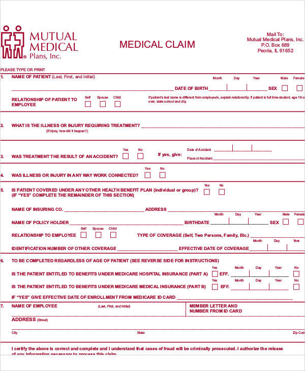 47+ Free Claim Forms Sample Templates - medical claim form