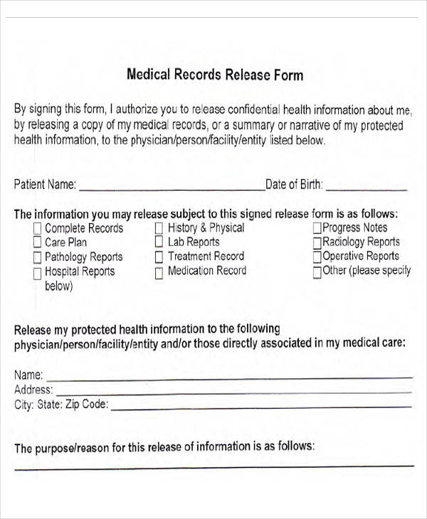 Medical Forms in PDF - medical records release form