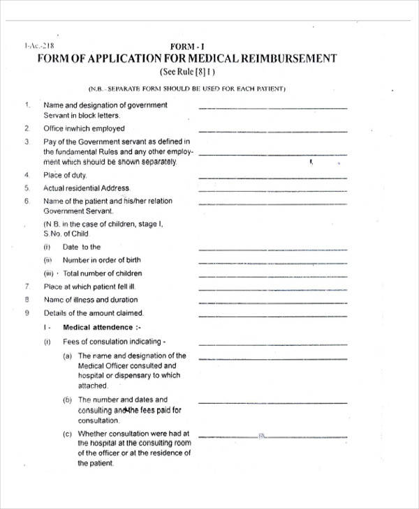 Medical Consultation Form Report Of Medical Examination