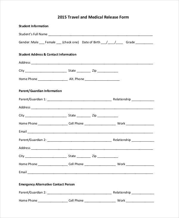 Sample Medical Form - medical clearance forms