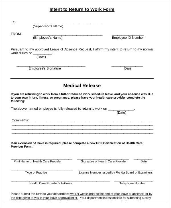 return to work medical form template