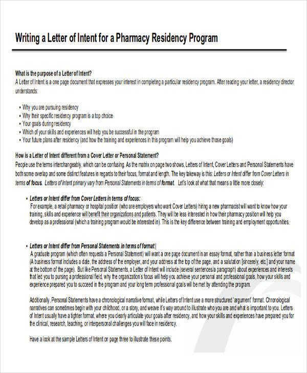 Intent Letter Format Enwurfcsat - sample pharmacy residency letter of intent
