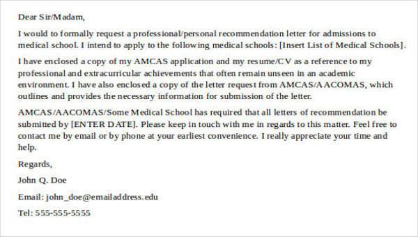 medical recommendation letter for doctors