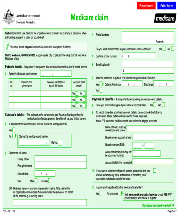 Medicare Form Sample Medicare Claim Form Examples In Word Pdf Irs - claim form in pdf