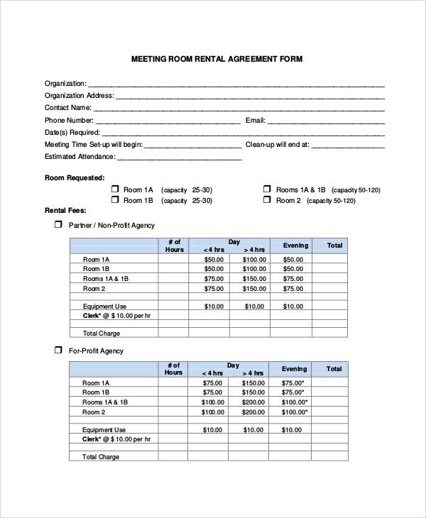room rental agreement form