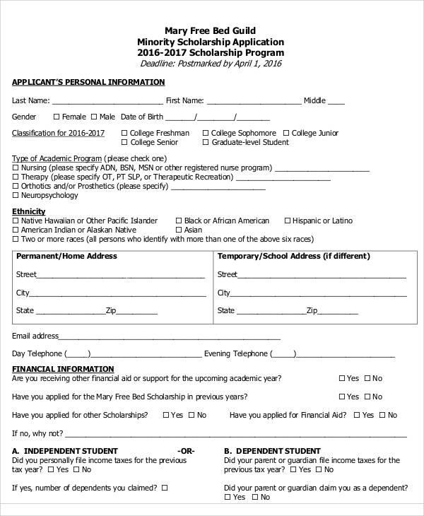 65+ Application Form Samples Sample Templates - scholarship application form