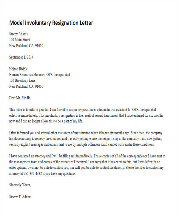 34 Sample Resignation Letter Templates Sample Templates