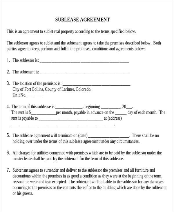 sublet agreement form - Pinarkubkireklamowe