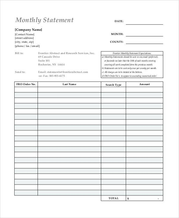 Printable Statement Form - billing statement template