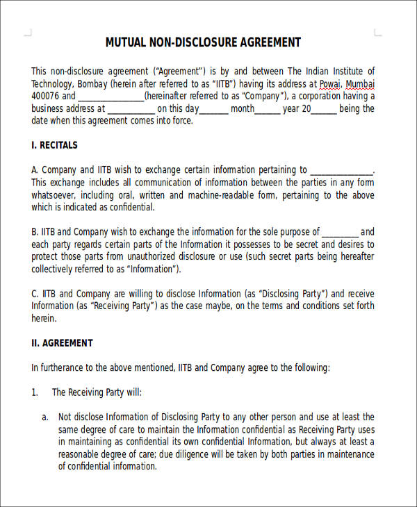 13+ Sample Non-Disclosure Agreements - PDF,DOC