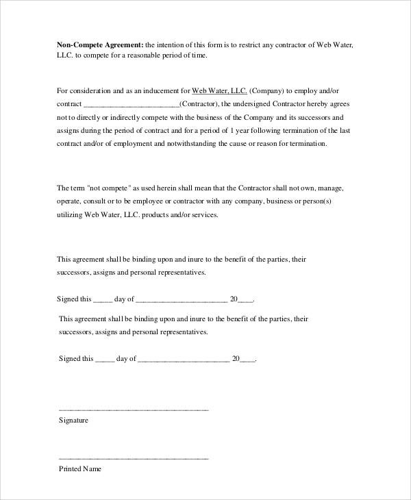 Basic Agreement Form - business non compete agreement