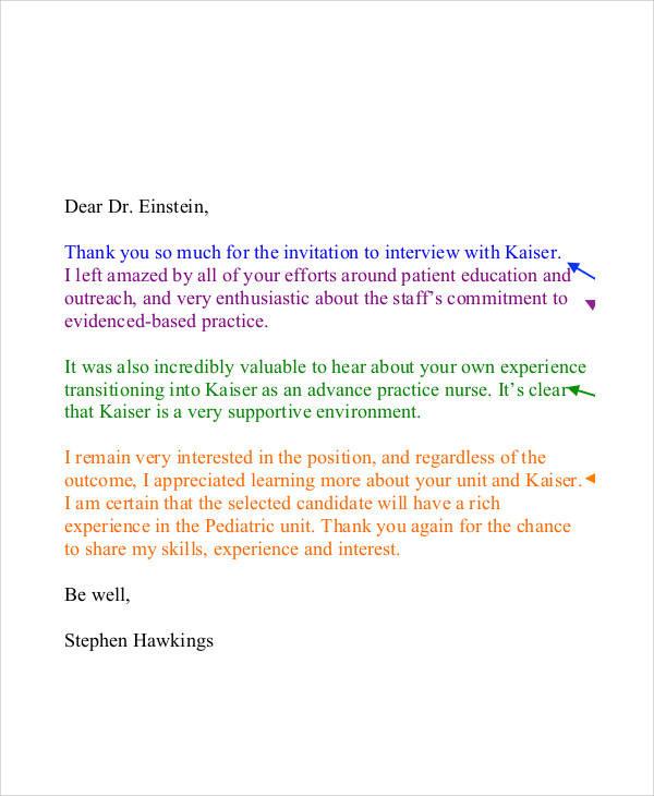 10+ Nursing Thank-You Letter Samples Sample Templates - nursing interview thank you letter