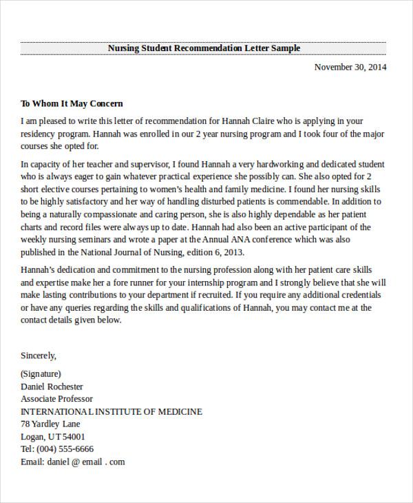 Internship Recommendation Letter Sample Letter Of Recommendation - sample letter of recommendation for nursing student