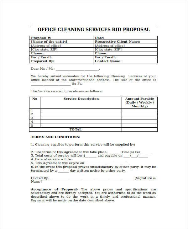 Proposal Form Templates - bid proposal forms