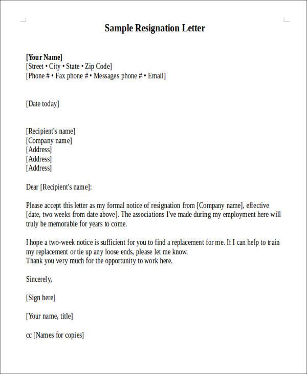 letter of resign